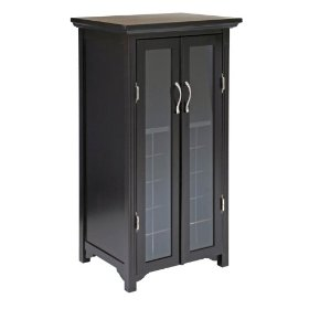 wood cabinet with french doors