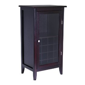 wood wine cabinet with glass door